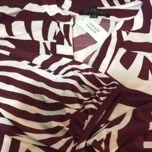BANANA REPUBLIC PRINTED TUNIC DRESS in Burgundy